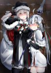 2girls ahoge bell black_gloves black_legwear blonde_hair blush capelet elbow_gloves fate/grand_order fate_(series) gloves hair_ribbon hat headpiece jeanne_alter jeanne_alter_(santa_lily)_(fate) long_hair looking_at_viewer multiple_girls ribbon ruler_(fate/apocrypha) saber saber_alter santa_alter santa_hat yellow_eyes younger