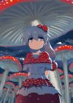 1girl blue_eyes cave commentary dress eyebrows_visible_through_hair food_themed_hair_ornament grey_hair hair_ornament highres long_hair looking_up monosenbei mushroom mushroom_hair_ornament original solo white_dress