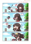 ... 3girls 4koma :o aircraft airplane akagi_(kantai_collection) black_hair blue_sky blush_stickers brown_eyes clouds comic day eating fairy_(kantai_collection) fairy_wings fox hammer highres japanese_clothes kaga_(kantai_collection) kantai_collection lilywhite_lilyblack multiple_girls muneate open_mouth sky spitting spoken_ellipsis spoken_x translation_request tree twitter_username wand well wings