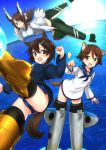 3girls amefre animal_ears blue_neckerchief blue_shirt brave_witches brown_eyes brown_hair closed_mouth commentary_request day dog_ears flying hair_ornament hair_ribbon hairclip highres karibuchi_hikari karibuchi_takami long_hair long_sleeves looking_at_viewer miyafuji_yoshika multiple_girls neckerchief ocean one-piece_swimsuit open_mouth ribbon sailor school_swimsuit school_uniform serafuku shirt short_hair siblings sisters sky smile strike_witches striker_unit swimsuit swimsuit_under_clothes white_ribbon white_shirt world_witches_series