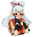 1girl bangs blush brown_eyes hair_ornament long_hair looking_at_viewer paya_(zelda) pointy_ears simple_background solo the_legend_of_zelda the_legend_of_zelda:_breath_of_the_wild utsugi_(skydream) white_hair