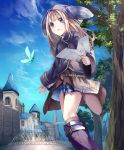 1girl animal_ears animal_hat artist_request blonde_hair blue_eyes boots city cygames fake_animal_ears fountain freshman_lou hat insect jacket long_hair map official_art shadowverse shingeki_no_bahamut skirt sweatdrop tree