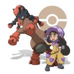>:o 1girl :o bag belt black_belt black_boots black_hair bonnet boots bright_pupils clenched_hands dark_skin eyelashes flat_chest gloves hapu'u_(pokemon) highres hooves horse island_kahuna jumpsuit long_hair looking_away looking_to_the_side mudsdale official_style open_mouth poke_ball pokemon pokemon_(creature) pokemon_(game) pokemon_sm puffy_short_sleeves puffy_sleeves purple_gloves shadow short_sleeves sidelocks standing tareme teeth teru_zeta thick_eyebrows tongue twintails violet_eyes