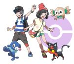 >:d 1boy 1girl :d bag bangs bare_arms baseball_cap beanie bird black_eyes black_pants blue_shoes bob_cut bracelet capri_pants cat clenched_hand collarbone feathers female_protagonist_(pokemon_sm) floral_print flying full_body green_shorts handbag hat highres holding holding_poke_ball horizontal_stripes jewelry leaf leg_up legs_apart litten looking_at_viewer male_protagonist_(pokemon_sm) open_mouth outline owl pants parted_bangs paws pocket poke_ball poke_ball_theme pokemon pokemon_(creature) pokemon_(game) pokemon_sm popplio red_hat rowlet sea_lion shirt shoes short_hair short_sleeves shorts simple_background smile sneakers standing standing_on_one_leg strap striped striped_shirt tabby_cat teeth teru_zeta tied_shirt tongue white_background yellow_shirt z-ring