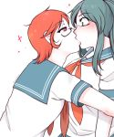 2girls artist_request black_eyes black_hair blush glasses info-chan kiss looking_at_each_other red_eyes red_hair school_uniform short_hair yandere-chan yandere_simulator yuri
