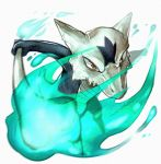 alolan_marowak bone brown_eyes commentary fire highres marowak pokemon pokemon_(game) pokemon_sm regional_variant skull traditional_media watercolor_(medium)