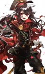 1girl black_hair cape chibirisu demon_archer fate/grand_order fate_(series) gloves hat highres japanese_clothes long_hair military military_uniform open_mouth red_eyes smile solo sword uniform weapon