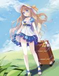 1girl artist_request barefoot blue_eyes blush bow_tie brown_hair chocker cleavage dress hairclip jingle_bell key_chain mini_dress open_mouth ribbon solo suitcase sun_hat tagme very_long_hair wavy_hair