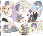 >_< 2boys :d ^_^ all_fours black_hair blue-framed_eyewear book brown_eyes cellphone closed_eyes collage flower glasses hair_ornament hairclip hand_on_another's_face hands_on_own_cheeks hands_on_own_face head_wreath heart hug hug_from_behind jewelry katsuki_yuuri lying male_focus multiple_boys on_stomach one_eye_closed open_book open_mouth phone reading ring rose silver_hair sitting smartphone smile takezaki_(artist) viktor_nikiforov yaoi yuri!!!_on_ice