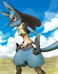black_fur blue_fur canine lucario pokemon pokemon_(game) pokemon_dppt red_eyes spikes winick-lim yellow_fur