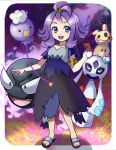 1girl :d acerola_(pokemon) armlet balloon blue_eyes breasts clouds collarbone costume dress drifloon elite_four eyelashes fangs fingernails flipped_hair froslass full_body gastly hair_ornament heart highres holding holding_poke_ball ice looking_at_viewer looking_away looking_to_the_side on_head open_mouth outline pikachu_costume poke_ball pokemon pokemon_(game) pokemon_sm purple purple_hair sandals short_hair short_sleeves small_breasts smile standing stitches tareme teeth tongue topknot torn_clothes torn_dress torn_sleeves trial_captain violet_eyes yellow_sclera yu_(mekeneko1998)