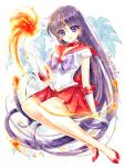 1girl bishoujo_senshi_sailor_moon black_hair bow brooch closed_mouth elbow_gloves fire flower full_body gloves hino_rei jewelry lily_(flower) long_hair looking_at_viewer magical_girl pleated_skirt purple_bow pyrokinesis red_choker red_sailor_collar red_shoes red_skirt sailor_mars shirataki_kaiseki shoes signature skirt smile solo tiara very_long_hair violet_eyes white_gloves