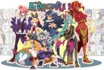 2boys 4girls animal_ears arm_up bangs belt black_boots black_choker black_gloves black_hair black_jacket black_pants black_shoes black_shorts black_skirt blonde_hair boots braid breasts christo_(disgaea) crossed_arms crown disgaea earmuffs fingerless_gloves genderswap genderswap_(ftm) genderswap_(mtf) glasses gloves green_hair grin headband high_heel_boots high_heels horns jacket jitome killia_(disgaea) koppen large_breasts long_hair makai_senki_disgaea_5 mini_crown multiple_boys multiple_girls necktie orange_eyes orange_hair pants pantyhose parted_bangs pink_hair pointy_ears popped_collar prinny rabbit_ears red_eyes red_magnus red_necktie red_skin revealing_clothes seraphina_(disgaea) shirt shoes short_hair shorts silver_hair sitting skirt smile spiky_hair standing suspenders thigh-highs thigh_boots torn_clothes under_boob usalia_(disgaea) very_long_hair vest white_shirt yellow_eyes yellow_shoes zeroken_(disgaea)
