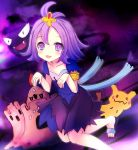 1girl :3 :d acerola_(pokemon) armlet bare_arms blush bright_pupils collarbone costume dress elite_four eyebrows_visible_through_hair eyes_visible_through_hair flat_chest flipped_hair gastly hair_between_eyes hair_ornament leg_up looking_at_viewer mimikyu open_mouth palossand pikachu_costume pokemon pokemon_(creature) pokemon_(game) pokemon_sm purple purple_background purple_hair sand sand_castle sand_sculpture sandals short_hair short_sleeves shovel smile standing standing_on_one_leg stitches tareme terimuku. toenails tongue topknot torn_clothes torn_dress torn_sleeves trial_captain violet_eyes worktool z-move