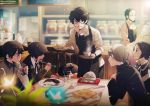 6+boys apron beard black_hair blurry butterfly cat coffee_cup coffee_maker_(object) coffee_pot collared_shirt cup depth_of_field drinking drinking_cup drinking_straw eating facial_hair food from_side glasses glowing holding holding_cup holding_spoon holding_tray indoors interlocked_fingers jacket kiyomiya kurusu_akira leaning_forward looking_at_another morgana_(persona_5) multiple_boys narukami_yuu newspaper open_mouth own_hands_together persona persona_1 persona_2 persona_3 persona_4 persona_5 plate sakura_soujirou school_uniform serving shirt short_sleeves side_glance silver_hair sitting sleeping smile spoon standing suou_tatsuya table time_paradox toudou_naoya tray wing_collar yuuki_makoto