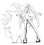 1girl angry armpits asymmetrical_bangs bangs bare_arms bare_shoulders blunt_bangs breasts character_name clefable clenched_teeth constricted_pupils diamond_(shape) dress empty_eyes fairy_wings frown full_body gem leggings legs_apart long_hair looking_down lusamine_(pokemon) mature monochrome open_toe_shoes pokemon pokemon_(creature) pokemon_(game) pokemon_sm primavera_maru see-through shoes short_dress simple_background sleeveless sleeveless_dress small_breasts teeth turtleneck two-tone_legwear white_background wings