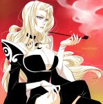 1girl alexa_pasztor artist_name bare_shoulders black_dress bleach blonde_hair blue_eyes breasts choker cleavage cosplay dress ichihara_yuuko ichihara_yuuko_(cosplay) large_breasts legs_crossed lips long_hair matsumoto_rangiku mole mole_under_mouth orange_background pipe smile smoke solo wide_sleeves xxxholic