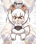 >_< 1boy 1girl animal_ears arms_up beard black_hair bow bowtie closed_eyes dress facial_hair frilled_dress frills gradient_hair kemono_friends long_sleeves looking_at_viewer mohawk multicolored_hair muscle no_pupils open_mouth pointing pointing_up russian southern_tamandua_(kemono_friends) street_fighter tamandua_ears tamandua_tail tanaka_kusao underbust white_hair wrestler wrestling_outfit zangief