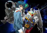 1boy beam_rifle blue_hair energy_gun gundam gundam_mk_ii jacket kamille_bidan mecha platin_(alios) shield short_hair violet_eyes zeta_gundam