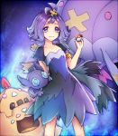 1girl :3 acerola_(pokemon) akira_(aky-la) arm_behind_back armlet artbook bare_arms blush closed_mouth collarbone dress drifblim elite_four eyelashes eyes_visible_through_hair facing_viewer flat_chest flipped_hair flower gem hair_flower hair_ornament highres holding holding_poke_ball looking_at_viewer palossand poke_ball pokemon pokemon_(creature) pokemon_(game) pokemon_sm purple purple_background purple_hair sableye sand sand_castle sand_sculpture short_hair shovel standing stitches tareme topknot torn_clothes torn_dress torn_sleeves trial_captain violet_eyes worktool
