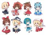 >:d 10s 6+girls :d :o ahoge angel_wings animal animal_ears animal_on_head antenna_hair bird blonde_hair blue_eyes blue_hair blush boots bow bowtie brown_hair card_captor_sakura cat cat_ears cat_on_head cat_tail chen chibi chick cirno coda_(ankoprpr3700) commentary dress fang flandre_scarlet gloves green_eyes grin hair_bow hair_intakes hair_ribbon hair_tubes hakurei_reimu hat highres ice ice_wings kinomoto_sakura kirisame_marisa looking_at_viewer magical_girl mahou_shoujo_madoka_magica miki_sayaka mob_cap multiple_girls multiple_tails on_head one_eye_closed open_mouth red_eyes ribbon rumia salute sandals short_hair skirt_basket smile sweat tail touhou two_tails vulcan_salute waving white_gloves wings witch_hat
