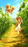 1girl :d armpits arms_up bare_arms bare_legs bare_shoulders bow bowtie brown_eyes brown_hair brown_hat clouds collarbone commentary_request day dress error field flower flower_field full_body green_eyes gym_leader hat holding holding_hat ledyba lens_flare light_rays long_hair mikan_(pokemon) no_legwear no_socks one_leg_raised open_mouth path plant pokemon pokemon_(creature) pokemon_(game) pokemon_hgss red_bow red_bowtie revision ribero road running sandals shadow sleeveless sleeveless_dress smile summer sun_hat sundress sunflora sunflower sunlight wrong_feet younger