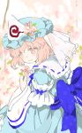 1girl bangs blue_kimono blush cherry_blossoms floral_print from_side hat japanese_clothes kimono long_sleeves mob_cap obi petals pink_eyes pink_hair ribbon-trimmed_collar ribbon_trim saigyouji_yuyuko sash seeker sketch smile solo touhou triangular_headpiece veil wide_sleeves