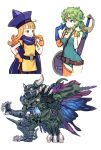2girls alena_(dq4) blue_eyes blush breasts cape curly_hair death_pisaro dragon_quest dragon_quest_iv earrings flat_chest gloves green_hair hat heroine_(dq4) horns jewelry kuroboshi_kouhaku long_hair medium_breasts monster multiple_girls open_mouth orange_hair pantyhose red_eyes short_hair