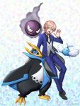 1boy crossover empoleon formal gastly grey_eyes male_focus mikado_nagi necktie open_mouth pink_hair pokemon smile solo suit swablu uta_no_prince-sama