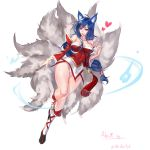 1girl ahri animal_ears artist_name bare_shoulders black_hair breasts character_name cleavage detached_sleeves facial_mark fox_ears fox_tail full_body heart heart-shaped_pupils highres hikarusorano korean_clothes large_breasts league_of_legends lips long_hair multiple_tails panties slit_pupils solo symbol-shaped_pupils tail underwear whisker_markings yellow_eyes