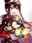 1boy 1girl :d character_doll chibi cloak demon_archer fate/grand_order fate_(series) gatling_gun gun hair_over_one_eye hat highres keikenchi_(style) koha-ace low_ponytail military military_hat military_uniform musket nonono oda_nobukatsu_(fate/grand_order) open_mouth peaked_cap ponytail red_eyes sidelocks smile solo uniform upper_body weapon