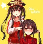 1boy 1girl black_hair black_hat blush brother_and_sister character_request commentary copyright_request demon_archer english eyebrows_visible_through_hair fate/grand_order fate_(series) hat jacket kaerunoko koha-ace long_hair long_sleeves looking_at_viewer multiple_girls oda_nobukatsu_(fate/grand_order) open_mouth red_eyes siblings smile star text track_jacket track_suit twintails yellow_background