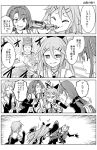 3girls asymmetrical_bangs bangs bottle bow braid buddha cheek_poking detached_sleeves drinking elbow_gloves fingerless_gloves gloves greyscale hair_between_eyes hair_bow hair_flaps hair_ribbon kantai_collection kawakaze_(kantai_collection) looking_at_another monochrome multiple_girls open_mouth parted_bangs poking punching ribbon school_uniform single_braid translation_request umikaze_(kantai_collection) yamakaze_(kantai_collection) yuugo_(atmosphere)