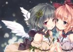 2girls :o bare_shoulders black_hair blonde_hair blue_eyes blush bow cover cover_page dated dress ech green_hair hair_bow hair_ornament hairband hands_together looking_at_another looking_at_viewer multiple_girls nose open_mouth original pink_hair red_eyes short_hair smile steepled_fingers white_wings wings