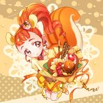 1girl animal_ears arisugawa_himari banana_slice brown_background brown_eyes brown_hair cherry cure_custard earrings extra_ears food food_themed_hair_ornament fruit full_body hair_ornament jewelry kirakira_precure_a_la_mode kneehighs looking_at_viewer magical_girl orange_ribbon orange_shoes pocky ponytail precure pudding red_choker ribbon shoes short_hair skirt smile solo squirrel_ears squirrel_tail tail urbandusk whipped_cream yellow_hairband yellow_legwear yellow_ribbon yellow_skirt