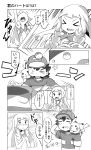 >_< 1boy 1girl arm_up bare_shoulders baseball_cap braid closed_eyes comic dress emphasis_lines eyebrows_visible_through_hair greyscale hands_on_own_chest hat highres holding holding_poke_ball kuriyama lillie_(pokemon) long_hair monochrome motion_lines no_headwear on_shoulder open_mouth pikachu poke_ball pokemon pokemon_(anime) pokemon_(game) pokemon_sm pokemon_sm_(anime) raised_eyebrows satoshi_(pokemon) scratching_head short_sleeves sleeveless sleeveless_dress straight_hair translation_request twin_braids upper_body very_long_hair wince