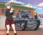 2girls blue_eyes blush brown_hair building clouds commentary cover cover_page emblem girls_und_panzer girls_und_panzer_phase_erika ground_vehicle hair_bobbles hair_ornament itsumi_erika kuromorimine_(emblem) kuromorimine_military_uniform looking_to_the_side military military_vehicle motor_vehicle multiple_girls official_art panzerkampfwagen_35(t) radio_antenna rope rou_leila saitaniya_ryouichi silver_hair skirt sky tank twintails uniform wrench