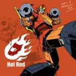1boy 80s artist_name autobot car full_body glowing ground_vehicle gun holding holding_gun holding_weapon hot_rod insignia kamizono_(spookyhouse) looking_at_viewer machine machinery mecha motor_vehicle no_humans oldschool open_mouth orange_background robot smile solo transformers twitter_username vehicle weapon