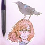 1girl animal animal_on_head bird blue_eyes brown_hair crow glasses ilya_kuvshinov looking_at_viewer mechanical_pencil on_head original pencil photo red-framed_eyewear semi-rimless_glasses short_hair solo traditional_media under-rim_glasses wind