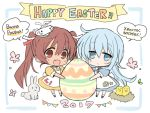 2017 2girls :d alternate_costume apron bird blue_dress blue_eyes blue_hair brown_eyes brown_hair chibi chick cyrillic dress easter easter_egg fang hammer_and_sickle hat hibiki_(kantai_collection) hizuki_yayoi italian kantai_collection libeccio_(kantai_collection) long_hair multiple_girls nest open_mouth oversized_object rabbit russian smile star twintails verniy_(kantai_collection) white_apron yellow_dress