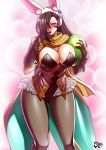 1girl abstract_background alternate_costume animal_ears black_hair blush breasts brown_eyes bursting_breasts cleavage easter_egg finger_to_mouth fire_emblem fire_emblem_heroes fire_emblem_if gloves jadenkaiba kagerou_(fire_emblem_if) large_breasts long_hair looking_at_viewer pantyhose rabbit_ears scarf solo thigh_gap thighs