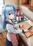 1girl :o akabane_hibame apron bangs black_skirt blue_eyes blue_hair borscht_(food) cabinet carrot cooking counter cutting_board eyebrows_visible_through_hair food from_above from_side hair_between_eyes hibiki_(kantai_collection) holding holding_food holding_knife indoors kantai_collection kitchen kitchen_knife knife long_hair long_sleeves looking_at_viewer looking_to_the_side open_mouth pink_apron pleated_skirt pot school_uniform serafuku shirt skirt solo stove verniy_(kantai_collection) white_shirt window wooden_floor