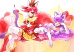 2girls animal_ears cat_ears cat_tail choker cure_chocolat cure_macaron dog_ears dog_tail earrings elbow_gloves extra_ears food_themed_hair_ornament gloves hair_ornament hat irimi_(irimino) jewelry juliet_sleeves kenjou_akira kirakira_precure_a_la_mode kotozume_yukari long_hair long_sleeves macaron_hair_ornament magical_girl multiple_girls pekorin_(precure) precure puffy_sleeves purple_choker purple_hair red_eyes redhead short_hair skirt smile tail violet_eyes white_gloves yellow_skirt
