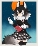 1girl animal_ears artist_name beige_border black_border black_hair black_jacket black_legwear blazer blue_eyes border breasts buttons collar cowboy_shot eyelashes fang full_moon fur_collar gloves gradient_clothes gradient_hair gradient_sky grey_wolf_(kemono_friends) hair_between_eyes heterochromia holding holding_pen jacket kemono_friends l_hakase long_sleeves looking_at_viewer medium_breasts medium_hair moon multicolored_hair necktie night notebook outdoors outside_border pen plaid plaid_necktie plaid_skirt pleated_skirt signature skirt sky sleeve_cuffs smile solo star_(sky) tail thigh-highs tsurime two-tone_hair white_gloves white_hair wolf_ears wolf_tail yellow_eyes zettai_ryouiki