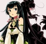 2girls back-to-back bare_shoulders black_bow black_dress black_hair blue_eyes bow claws dark_persona detached_sleeves dress gauntlets gothic_lolita grey_background hair_bow hair_tubes japanese_clothes kantai_collection kimono large_bow lolita_fashion long_hair looking_to_the_side mizuho_(kantai_collection) multiple_girls r-king red_eyes seaplane_tender_hime shinkaisei-kan strapless strapless_dress