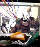 .flow 1boy androgynous breasts brown_hair chara_(undertale) food multiple_girls papyrus_(undertale) pie red_eyes sabitsuki shirt short_hair shousan_(hno3syo) skirt sleeveless sleeveless_turtleneck smile through_screen turtleneck undertale white_hair