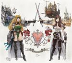 2girls armband artist_name beatrix belt beltskirt blonde_hair boots breasts brown_hair brown_legwear celes_chere choker cleavage coat crossed_swords english eyepatch final_fantasy final_fantasy_ix final_fantasy_vi flower full_body gloves greaves headband iwauchi_tomoki large_breasts leotard long_hair multiple_girls pantyhose pink_rose red_rose revision rose save_the_queen shield signature standing thigh-highs thigh_boots white_rose