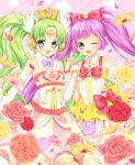 2girls :d ;d ahoge armpit_peek bangs bare_shoulders blush bow bowtie breasts collarbone commentary_request detached_collar detached_sleeves dress eyebrows_visible_through_hair falulu flower forehead_jewel frilled_dress frills garters green_eyes green_hair grey_eyes hair_bow hand_holding hand_up head_wings headphones heart interlocked_fingers long_dress long_hair looking_at_viewer manaka_lala mitsuba_choco multicolored multicolored_clothes multicolored_dress multiple_girls one_eye_closed open_mouth parted_bangs petals pink_background pink_rose pripara purple_bow purple_bowtie purple_hair purple_rose red_bow red_rose rose rose_petals see-through shiny shiny_clothes shiny_hair shiny_skin short_dress sleeveless sleeveless_dress small_breasts smile staff_(music) standing strapless strapless_dress striped striped_dress thigh-highs tiara treble_clef twintails very_long_hair wavy_hair white_legwear wristband yellow_rose