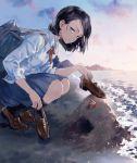 1girl beach dress_shirt hermit_crab holding holding_shoes loafers mole mole_under_eye original school_uniform shirt shoes skmtmks solo yuu_(warm_water)