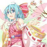(9) 1girl :d ahoge alternate_element alternate_wings blue_eyes blue_hair blush bow cherry_blossoms cirno dango detached_sleeves efe face flower food food_on_face hair_bow hair_flower hair_ornament japanese_clothes open_mouth revision seigaiha short_hair smile solo touhou wagashi wings
